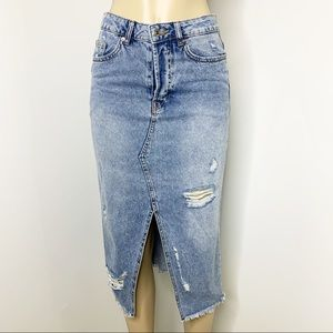 H&M Split Front A-Line Distressed Denim Skirt Sz 8